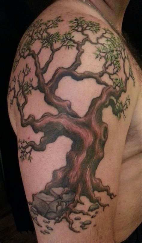 half sleeve tree tattoos grey ink tree scenery on right half sleeve