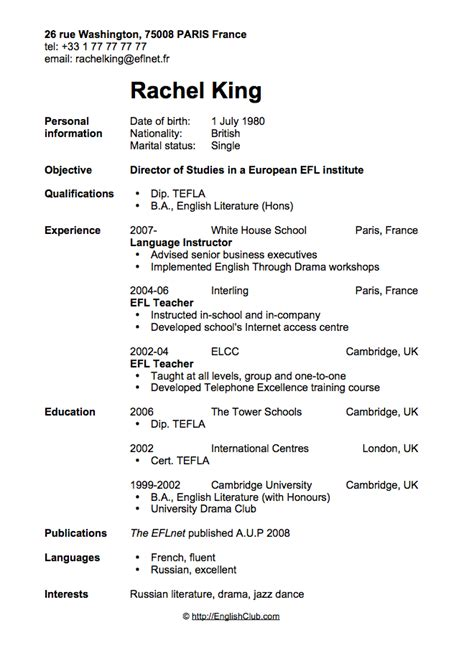 esl resume exles sle resume cv for business