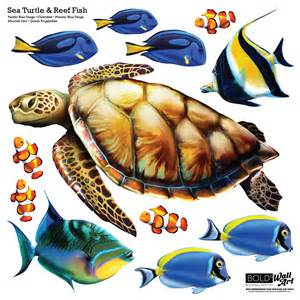 Dolphin Wall Mural sea turtle and reef fish wall decal set bold wall art