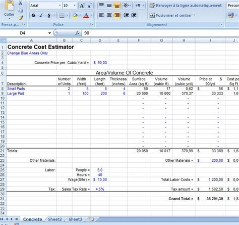 concrete estimate template excel concrete cost estimator civil engineering program