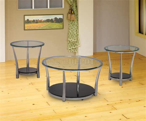 chrome glass 3pc coffee table set w wood black bottom shelf