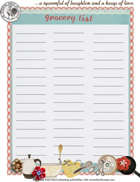 printable meal planner and shopping list 5 best images of grocery list planner printable free