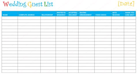 wedding budget guest list wedding guest list template to set a wedding ceremony on a