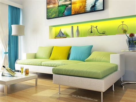 modern white green aqua blue living room interior design