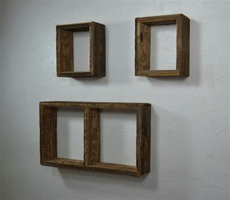 Shadow Box Wall Shelves From Rustic Reclaimed Wood Set Of Shadow Boxes With Shelves