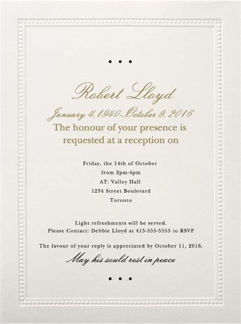 Memorial Service Invitation Cards Arts Arts