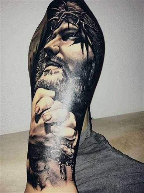jesus sleeve tattoo 100 christian tattoos for manly spiritual designs