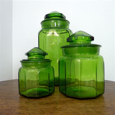 green glass canisters kitchen vintage le smith apothecary jars emerald green
