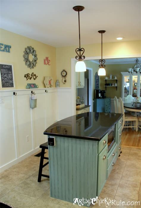 painted kitchen island kitchen island makeover duck egg blue chalk paint