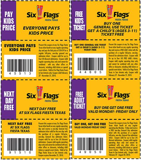 Printable Food Coupons For Six Flags | six flags free coupons printable get one free next