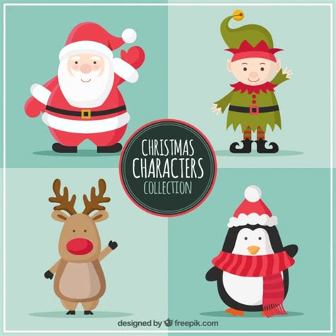christmas characters collection vector free download