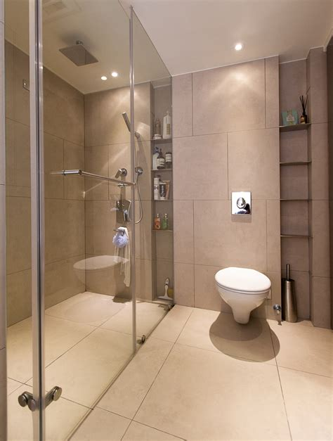bathroom shelf ideas Bathroom Contemporary with ceiling lighting curbless shower