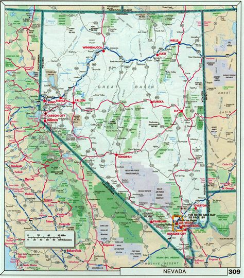 large detailed roads  highways map  nevada state