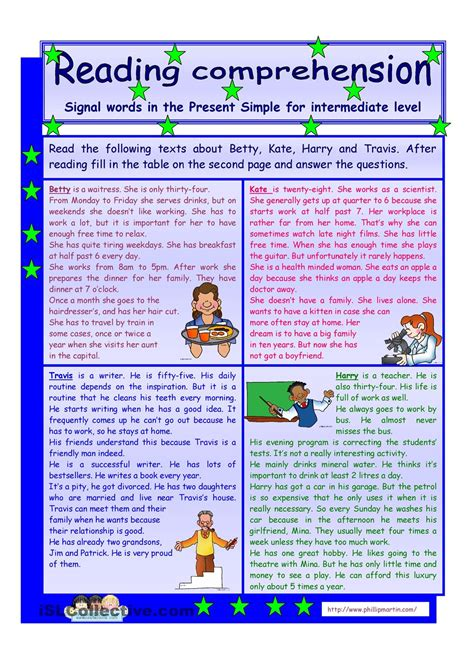 reading comprehension test intermediate esl reading comprehension signal words in the present simple