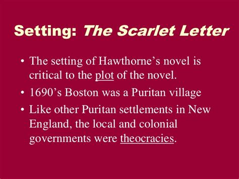 theme of the scarlet letter by hawthorne setting of the scarlet letter the scarlet letter