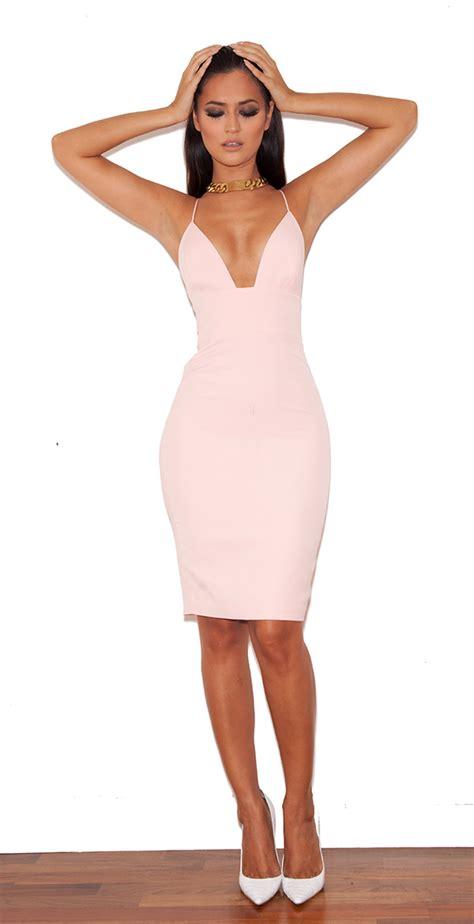 light pink bodycon dress loren blush bralet shape bodycon dress valentine s day
