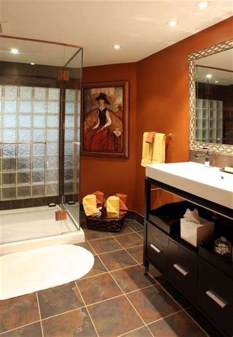 warm bathroom colors color roundup using orange in interior design paperblog