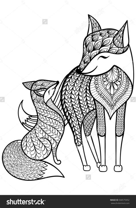 printable coloring pages for young adults royalty free hand drawn fox with young child pattern