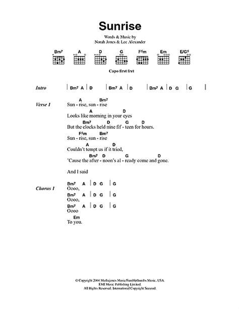 norah jones sunrise chords sunrise sheet music by norah jones lyrics chords 100334