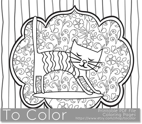 grown up coloring pages cats printable whimsical cat coloring page for adults pdf