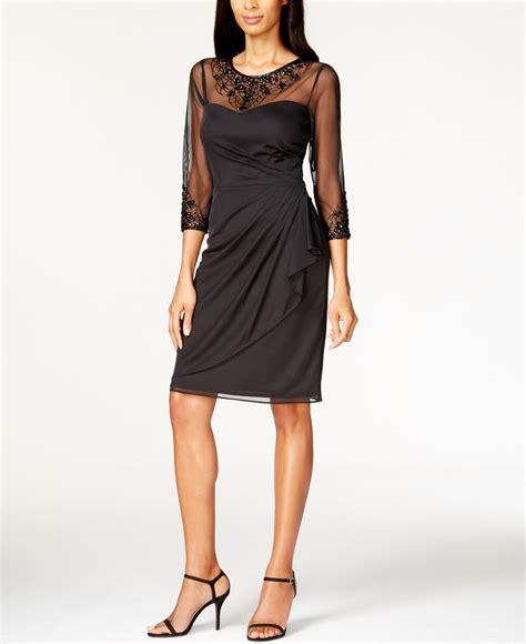 patra beaded dress lyst patra matte chiffon beaded dress in black