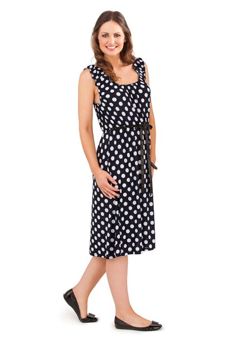 B2w2 Summer Dress D womens polka dot mid knee length summer dress spot design size uk 8 16 ebay