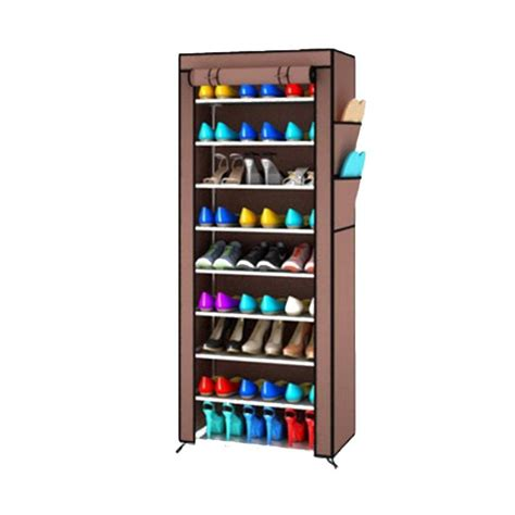 Rak Sepatu Portable jual daily deals gogo model rak sepatu portable shoe rack with dust cover coklat 10 susun