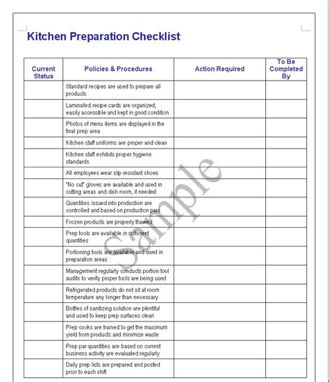 Restaurant Kitchen Cleaning Checklist Pdf Dandk Organizer Prep List For Restaurant Kitchen Template