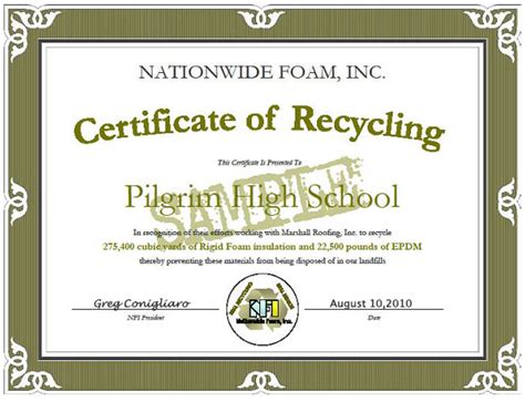 certificate of recycling template welcome to nationwide foam corporate sustainability