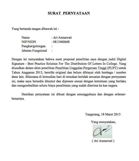 contoh surat keterangan surat pernyataan ari asmawati