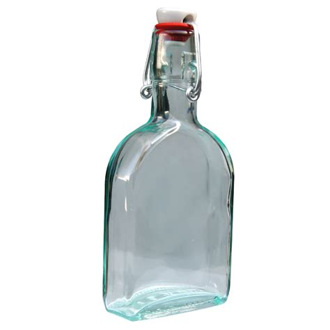 swing top flask glass bottles sloe gin hip flask bottle with ceramic swing top 200ml