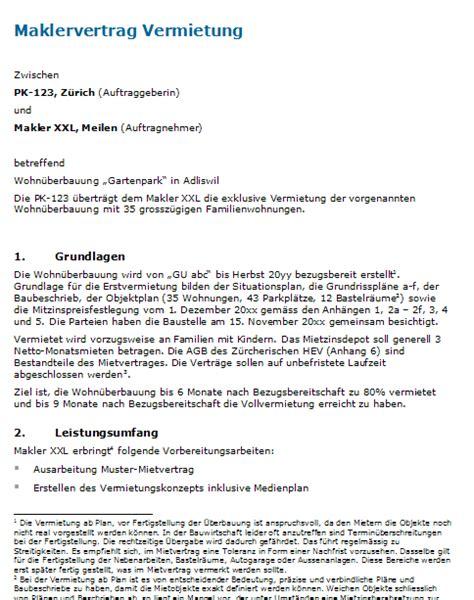Vertragsvorlagen Muster maklervertrag f 252 r vermietung muster zum