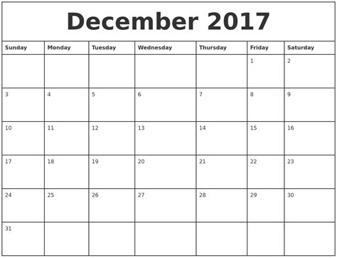 printable weekly calendar 2017 december 2017 printable monthly calendar