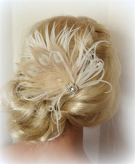 vintage bridal feather hair fascinator chagne ivory feather fascinator wedding hair accessories