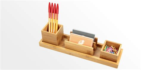 Sets Of Kitchen Knives Desk Organiser Set Of 4 Pcs Bamboo Stationery Organiser