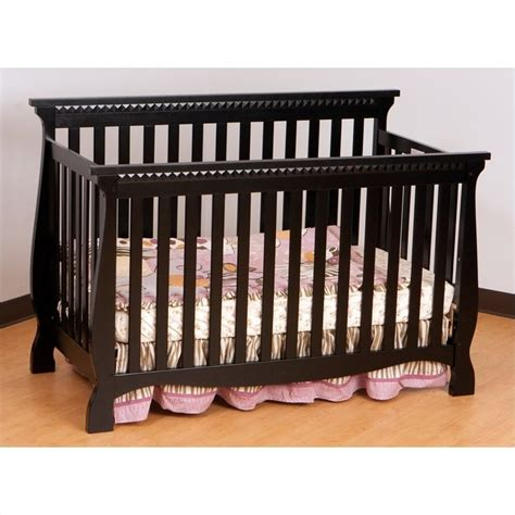 Stork Craft Venetian Crib by 4 In 1 Fixed Side Convertible Crib In Black 04587 13b