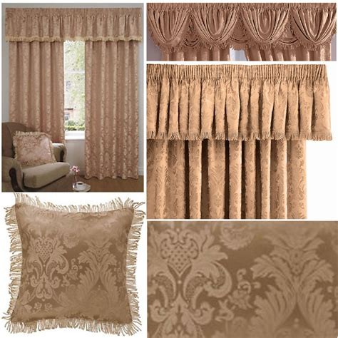 drapery clearance ascot damask pencil pleat lined curtains pelmet swags