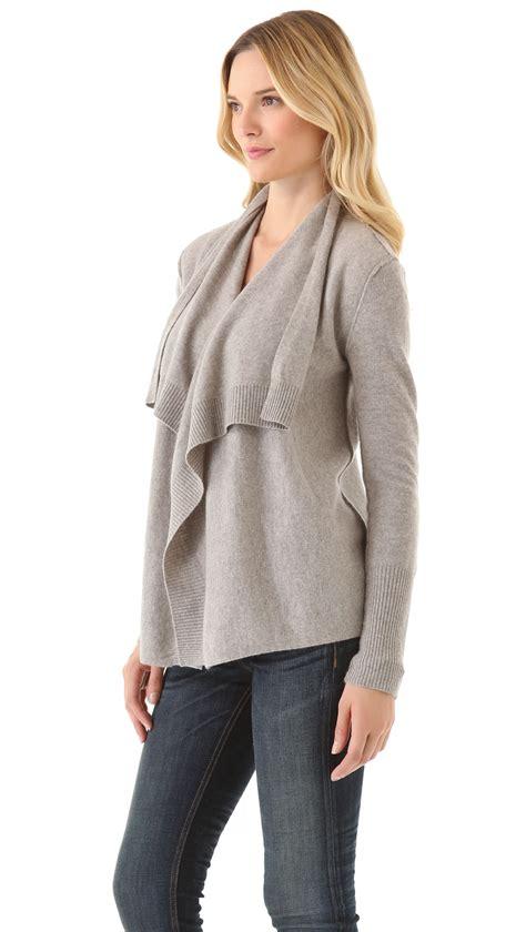 cashmere drape cardigan inhabit cashmere draped cardigan in natural lyst