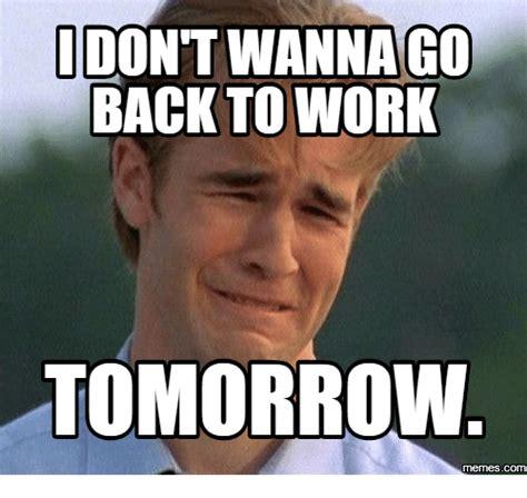 Works For Me Meme - idont wanna go back to work tomorrow com back to work