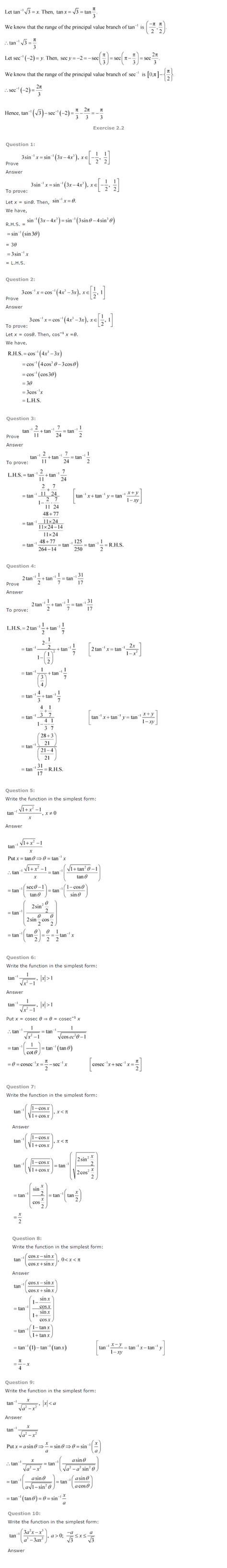 ncert solutions for class 12 maths chapter 2 inverse