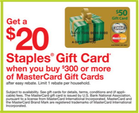Staples Gift Card Rebate - 200 visa gift cards on staples com and 20 staples easy rebate for a 300 mastercard