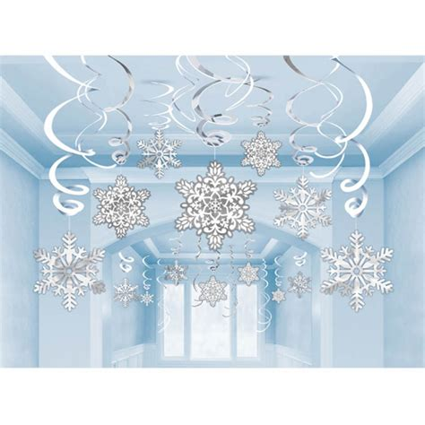 snowflake decorations 30 x hanging snowflake foil swirl