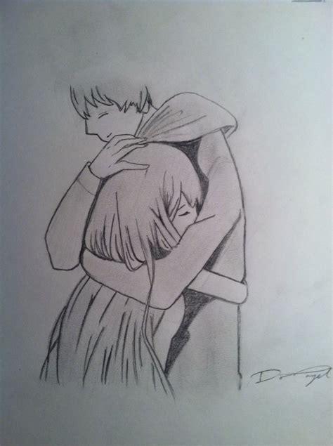 anime couple hugging hugging sketch www imgkid com the image kid has it