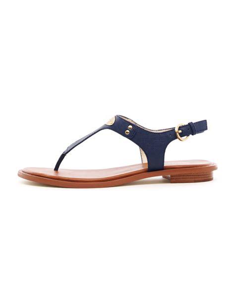 navy sandals flat michael kors flat tstrap sandal in blue navy lyst