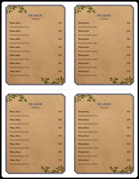 menu templates for pages ipad menu exles 5 free printable word pdf open office