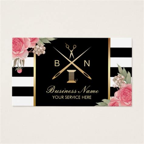 free seamstress business card templates sewing seamstress thread needles vintage floral business