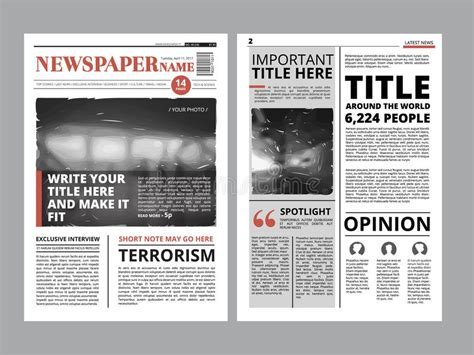 newspaper layout illustrator newspaper front page with several columns and photos