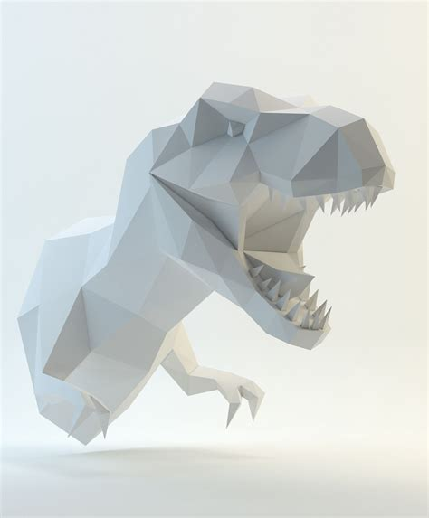 Dinosaur Papercraft - low poly t rex search mech low