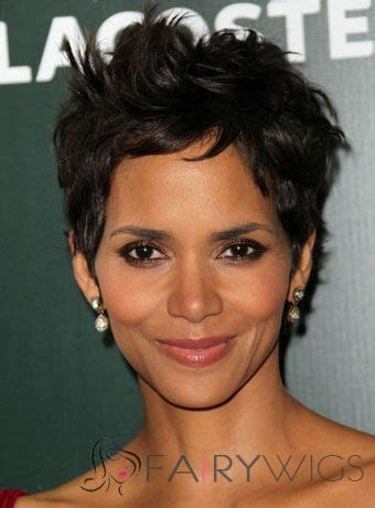 halle berry short pixie wig quality wigs short wavy sepia african american hand tied