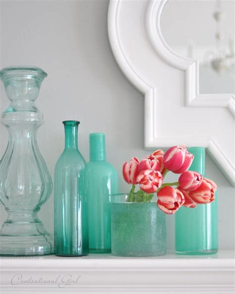 Aqua Blue Vases by Hair And Makeup Wedding